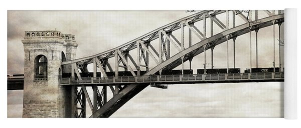 Hellgate Bridge In Sepia Yoga Mat