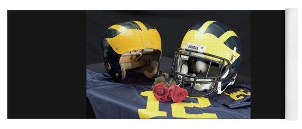 Helmets Of Different Eras With Jersey And Roses Yoga Mat