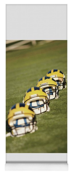 Helmets On Yard Line Yoga Mat