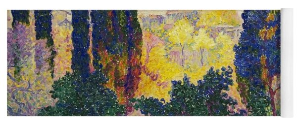 Yoga Mat featuring the painting Henri Edmond Cross French Les Cypres A Cagnes by Artistic Panda