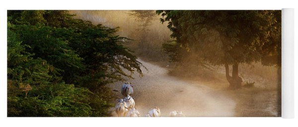 Yoga Mat featuring the photograph herd and farmer going home in the evening, Bagan Myanmar by Pradeep Raja Prints