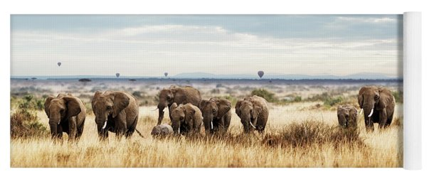 Herd Of Elephant In Kenya Africa Yoga Mat