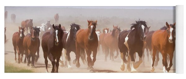 Yoga Mat featuring the digital art Herd Of Horses During The Great American Horse Drive On A Dusty Road by Nadja Rider