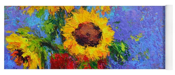 Here Comes The Sunshine Modern Impressionist Floral Still Life Palette Knife Work Yoga Mat