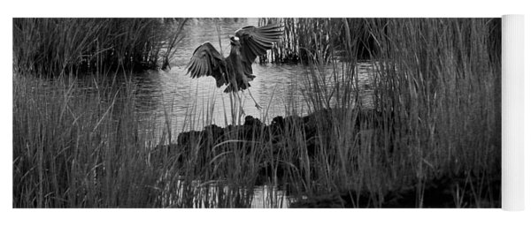 Heron And Grass In B/w Yoga Mat