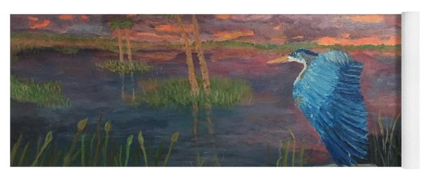 Heron At Sunset Yoga Mat