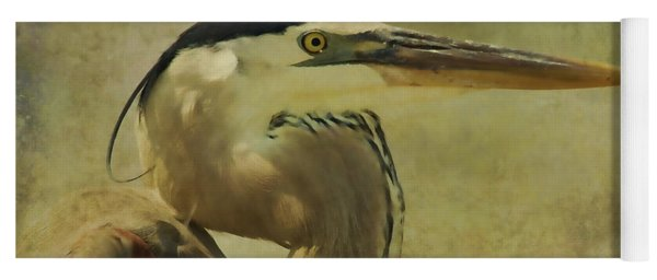 Heron On Texture Yoga Mat