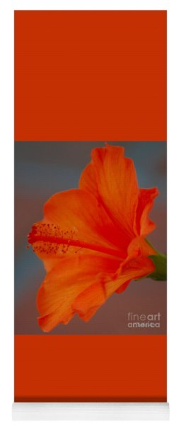 Hot Orange Hibiscus Yoga Mat