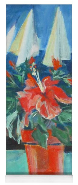 Hibiscus With An Orange And Sails For Breakfast Yoga Mat