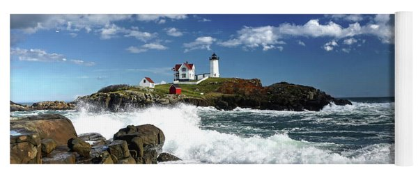 High Surf At Nubble Light Yoga Mat