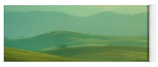 Hills In The Early Morning Light Digital Impressionist Art Yoga Mat