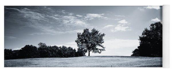 Hilly Black White Landscape Yoga Mat