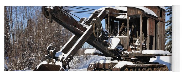 Historic Mining Steam Shovel During Alaska Winter Yoga Mat