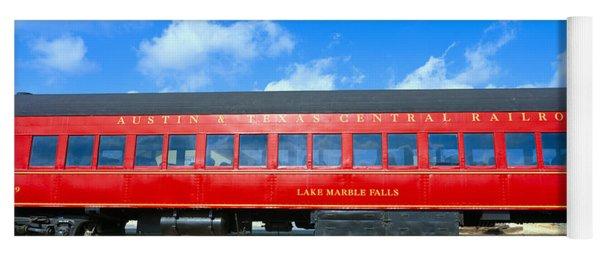 Historic Red Passenger Car, Austin & Yoga Mat