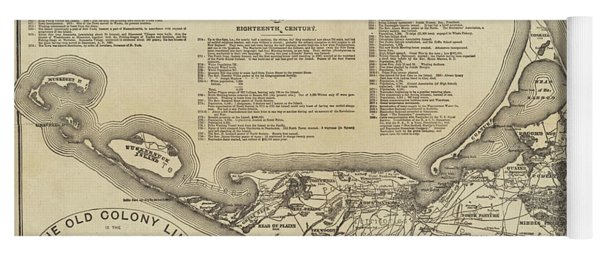 Historical Map Of Nantucket From 1602-1886 Yoga Mat