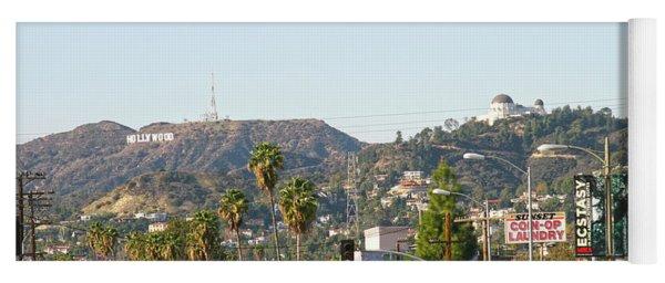 Hollywood Sign Above Sunset Blvd. Yoga Mat