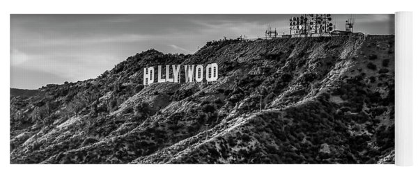 Hollywood Sign - Black And White Yoga Mat