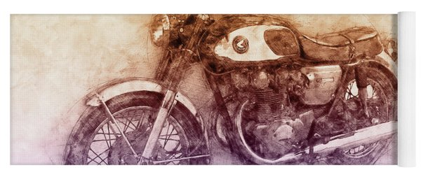Honda Cb77 - Honda Motorcycles 2 - Motorcycle Poster - Automotive Art Yoga Mat