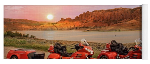 Yoga Mat featuring the photograph Honda Goldwing Bike Trike And Trailer by Patti Deters