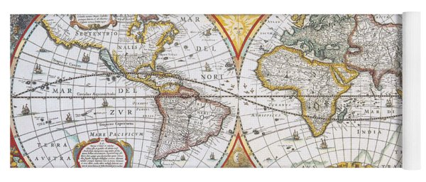 Ptolemy world map yoga mats fine art america hondius world map 1630 yoga mat gumiabroncs Gallery