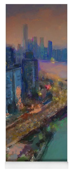 Hong Kong Skyline Painting Yoga Mat