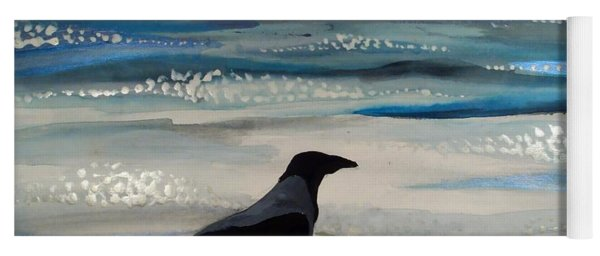 Hooded Crow At The Black Sea By Dora Hathazi Mendes Yoga Mat