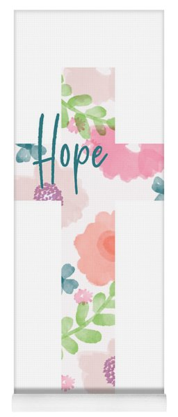 Hope Floral Cross- Art By Linda Woods Yoga Mat