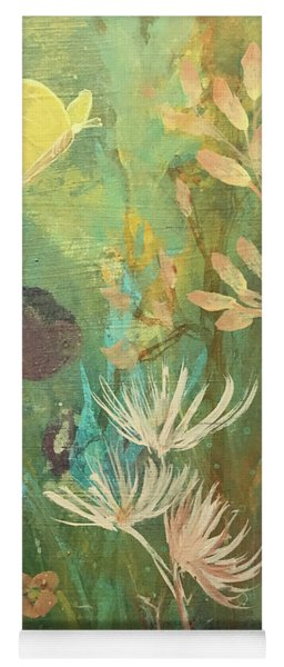 Yoga Mat featuring the painting Hopeful Golden Wings by Robin Maria Pedrero