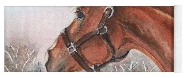 Horse Head Painting In Watercolor Yoga Mat