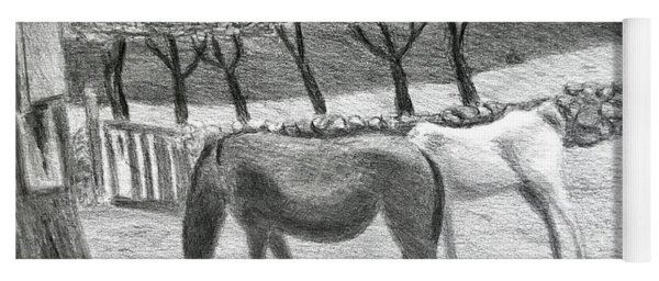 Horses And Trees In Bloom Yoga Mat
