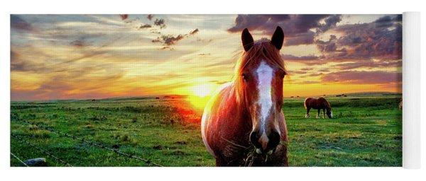 Horses At Sunset Yoga Mat