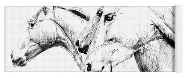 Horses - Ink Drawing Yoga Mat