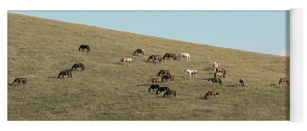 Horses On The Hill Yoga Mat