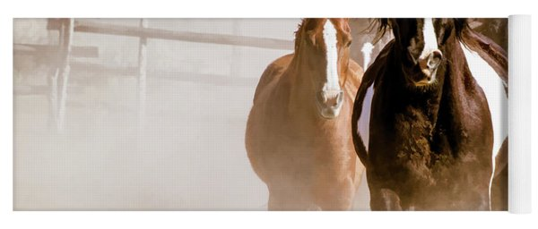 Yoga Mat featuring the digital art Horses Running Into A Dusty Ranch Corral by Nadja Rider
