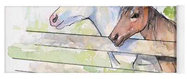 Horses Watercolor Sketch Yoga Mat