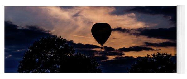Hot Air Balloon Silhouette At Dusk Yoga Mat