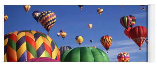 Beautiful Balloons On Blue Sky - Color Photo Yoga Mat