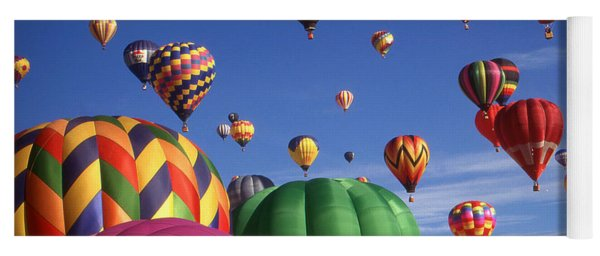 Beautiful Balloons On Blue Sky - Color Photo Yoga Mat