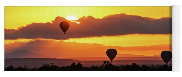 Hot Air Balloons In Surise Orange Africa Sky Yoga Mat