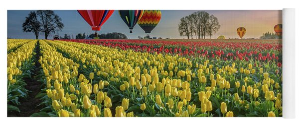 Hot Air Balloons Over Tulip Fields Yoga Mat