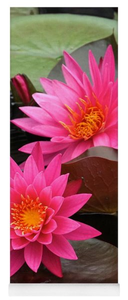 Hot Pink Twin Tropical Waterlily Charm Yoga Mat