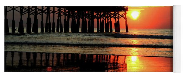 Hot Sunrise Over Cocoa Beach Pier  Yoga Mat