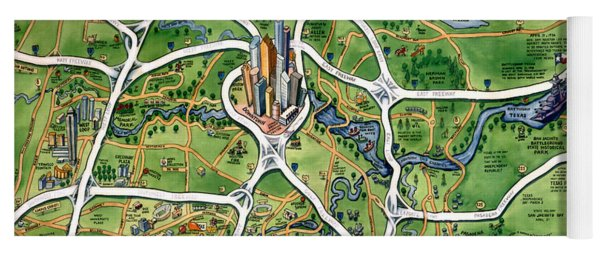 Houston Texas Cartoon Map Yoga Mat