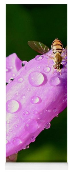 Hoverfly On Pink Flower Yoga Mat