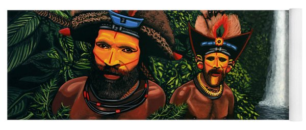 Huli Men In The Jungle Of Papua New Guinea Yoga Mat