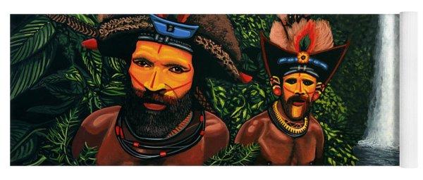 Huli Men In The Jungle Of Papua New Guinea Yoga Mat