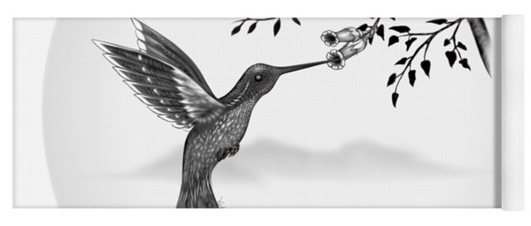 Hummingbird On Oval Yoga Mat