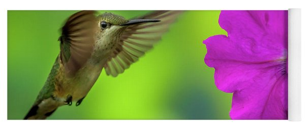 Hummingbird And Flower Yoga Mat