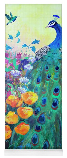 Yoga Mat featuring the painting Hummingbird And Peacock by Robin Maria Pedrero