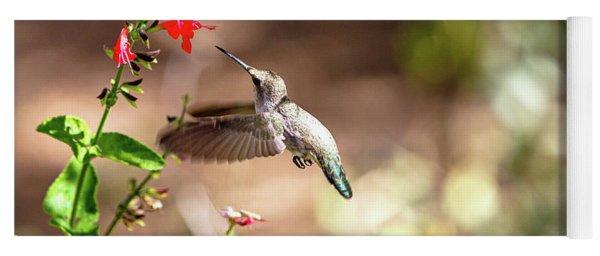 Hummingbird In-flight With Red Wildflower Yoga Mat
